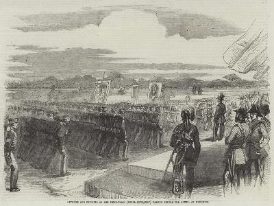 Officers and Privates of the Siege-Train (Royal Artillery) Passing before the Queen, at Woolwich