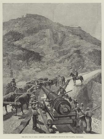 The Civil War in Chile, Hauling a 21-Ton Armstrong Gun Up to Fort Valdivia, Valparaiso