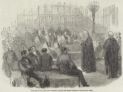 War with Russia, the Lord Chancellor Reading the Queen's Message to the House of Lords