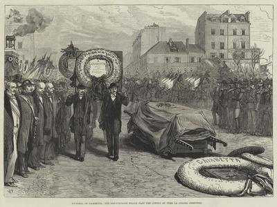Funeral of Gambetta, the Deputations Filing Past the Coffin at Pere La Chaise Cemetery