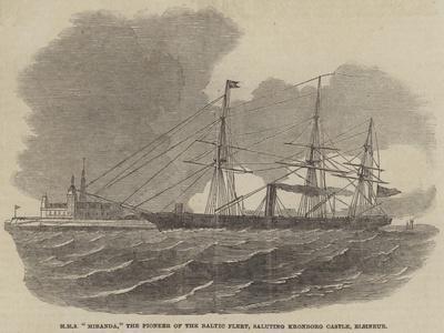 HMS Miranda, the Pioneer of the Baltic Fleet, Saluting Kronborg Castle, Elsineur