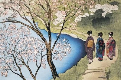 Rear View of Three Girls Walking on a Trail at Lakeside, Arashiyama, Kyoto Prefecture, Japan