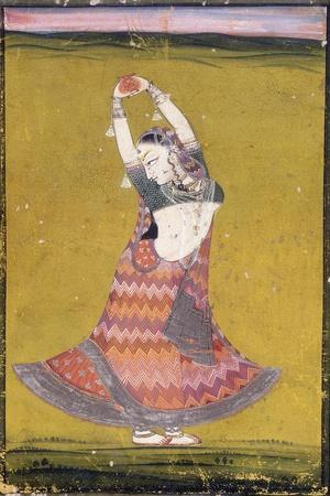 Dancing Girl, Early 19th Century (Gouache with Gold and Silver Paint on Paper)