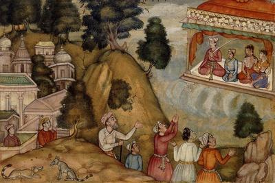 Villagers Paying Homage to a Man and His Family Seated on a Garlanded Verandah, C.1585