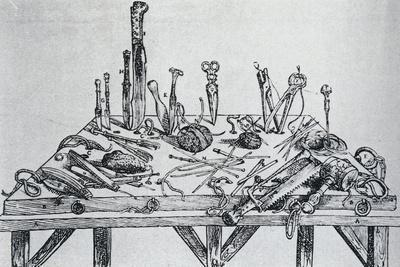 Dissection Instruments, from De Humani Corporis Fabrica by Andreas Vesalius (1514-1564)