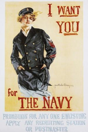 I Want You for Navy, 1917, Poster, World War I, United Kingdom, 20th Century