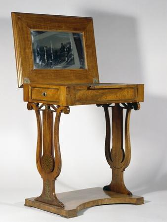 Empire Style Walnut Dressing Table with Brass Inlays, 1800-1825, Top Raised, Austria, 19th Century