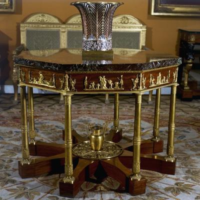 Gueridon, Octagonal-Shaped Mahogany Furniture, Chateau De Malmaison, France, 19th Century