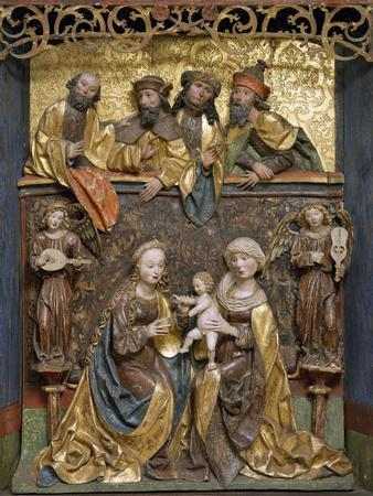 Altar of Holy Family, 1511, Dutch School, Polychrome Wood Relief, 16th Century