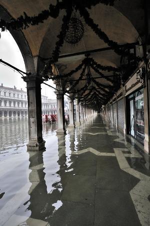 High Water in St Mark's Square, Venice (Unesco World Heritage List, 1987), Veneto, Italy