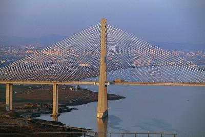 Vasco Da Gama Bridge over Tagus River (Tejo) Which Connects Montijo and Sacavem, Lisbon, Portugal
