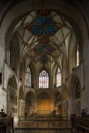The Chancel of Tewkesbury Abbey (12th Century), Romanesque Style, Gloucestershire, United Kingdom