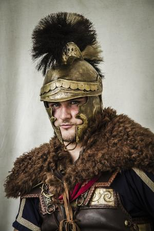 Historical Reenactment: Ancient Greek General with Helmet, Cape and Leather and Metal Plate Armor