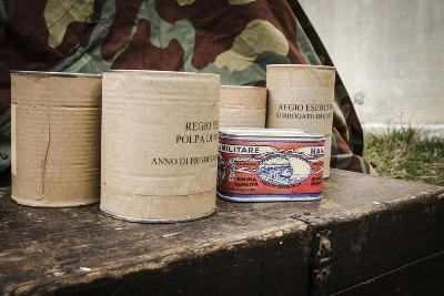 Historical Reenactment: Cans of Food Issued to Italian Soldiers. Second World War, 20th Century