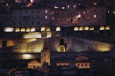 Night View of the Temple of Fortuna Primigenia, 2nd Century Bc, Palestrina, Lazio, Italy