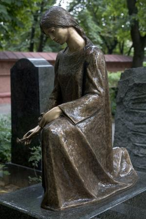 Girl Kneeling, Bronze Sculpture from Tomb in Novodevichy Cemetery, Moscow, Russia
