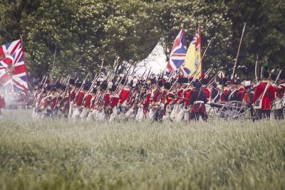 Historical Reenactment: British Infantry, Battle of Waterloo, 1815, Napoleonic Wars, 19th Century