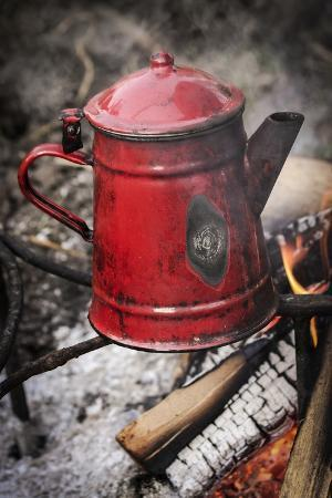 Historical Reenactment: Coffee Pot on the Fire in French Army Camp, Napoleonic Wars, 19th Century