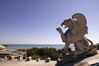 A Side View of One of the Griffins Atop the Museum with Lake Michigan in the Background