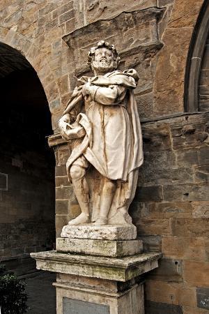 Statue of Torquato Tasso (1544-1595), Italian Poet, Piazza Vecchia, Bergamo Alta, Lombardy, Italy