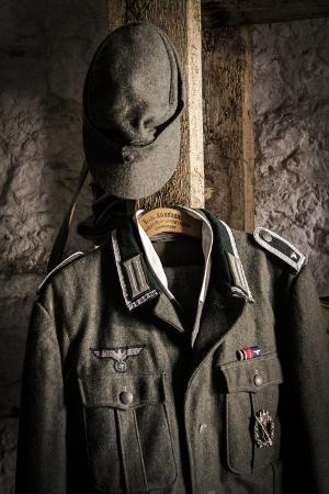 Historical Reenactment: Uniform and Cap of Wehrmacht Soldier, Second World War, 20th Century