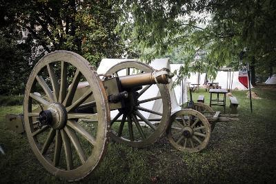 Historical Reenactment: Artillery Piece in French Army Camp, Napoleonic Wars, 19th Century