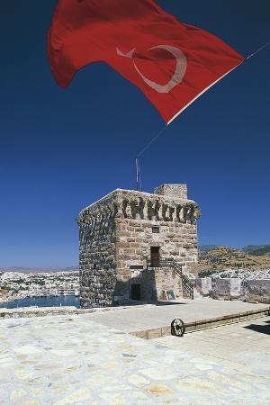 Castle of St Peter (Bodrum Castle), Flying Turkish Flag, Bodrum, Aegean Coast, Turkey