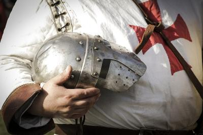 Historical Reenactment: Templar Knight Wearing Helmet with Visor, Crusades, 13th Century, Detail