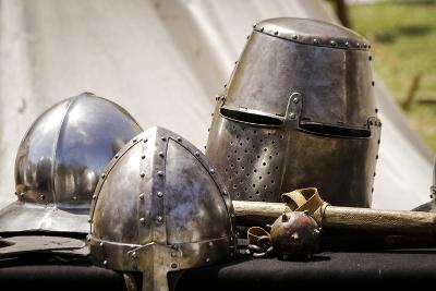 Historical Reenactment: Helmets Worn by Medieval Soldiers During Battle, 13th Century