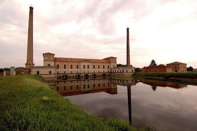 Waterworks (20th Century) on Po River, Moglia Sermide, Lombardy, Italy