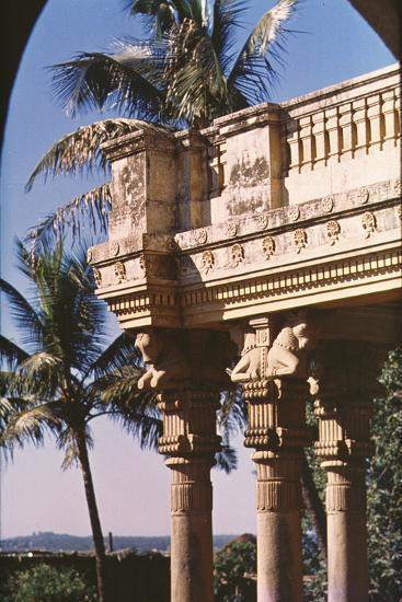 Columns Crowned by Achaemenian Bull Capitals Decorating the Entrance to the  Zoroastrian College
