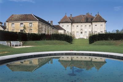 Reflection of a Castle in Water, Chateau De Moncley, Franche-Comte, France