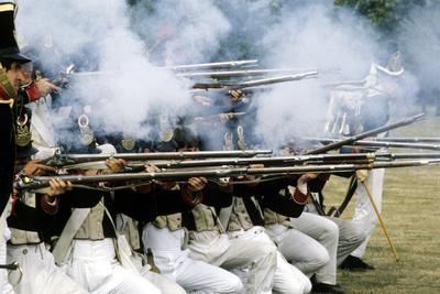 Historical Re-Enactment of French Napoleonic Riflemen in Battle, as Deployed at Waterloo, 1815