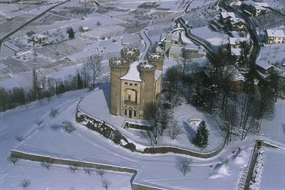 Ariel View of a Castle, Aymavilles Castle, Cogne Valley, Aosta Valley, Italy
