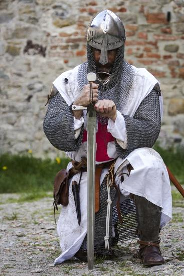 Historical Reenactment Templar Knight With Sword And