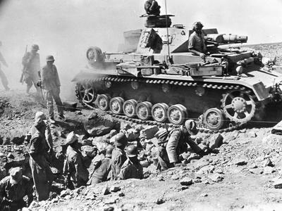 German Panzer IV Travelling over a Bridge Built across a British Trench, Tobruk, Libya, 1942