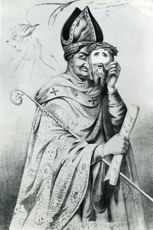 Caricature of Pope Pius IX (1792-1878), 1852