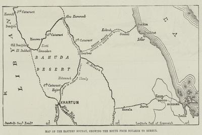 Map of the Eastern Soudan, Showing the Route from Souakim to Berber