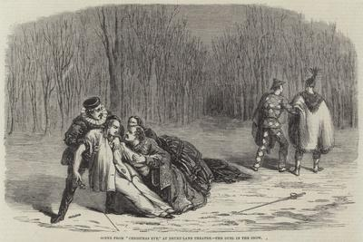 Scene from Christmas Eve, at Drury-Lane Theatre, the Duel in the Snow
