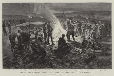 The German Military Manoeuvres, Round the Camp Fire after a Field Day