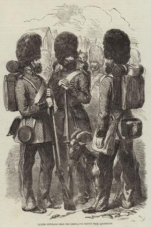 Guards Returned from the Crimea, a Sketch from Aldershott