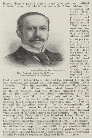 Sir Alfred Milner, Kcb, New Governor of the Cape