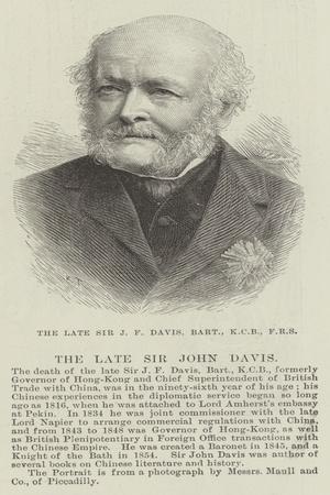 The Late Sir J F Davis, Baronet