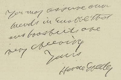Letter from Horace Greeley