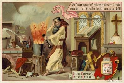 Discovery of Gunpowder by the Monk Berthold Schwarz, 1318