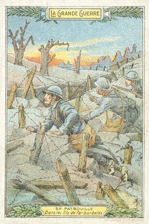 French Patrol Among the Barbed Wire, World War I