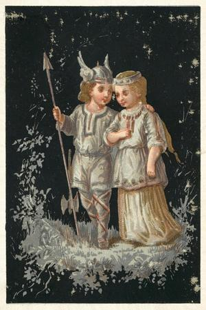 Girl and Boy in Norse or Germanic Costume