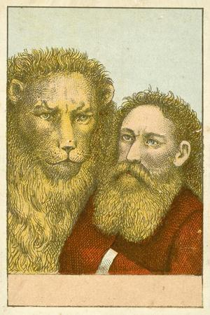 Lion and Bearded Man