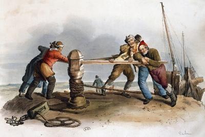 Sailors Mooring Ship, 1805, United Kingdom, 19th Century