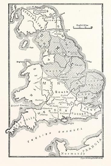 Anglo Saxon Map Of England.Map Of England Showing The Anglo Saxon Kingdoms And Danish Districts